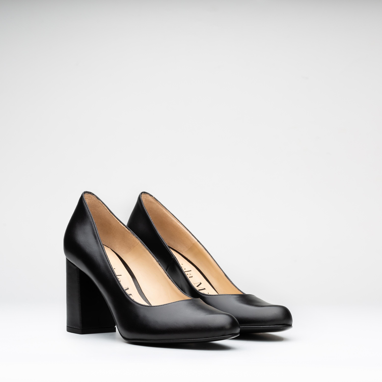salones zapatos con tacón cuadrado negros 7RqvdY